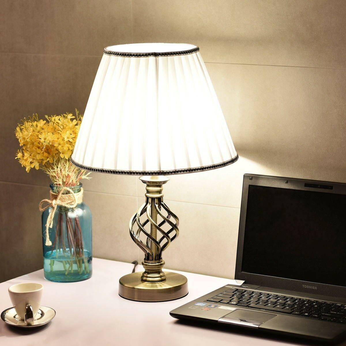 2pcs Home White Antique Brass Led Bulb Table Lamp Bedroom Nightstand Desk Light Bedside Table Lamps Table Lamp Bedside Table Brass