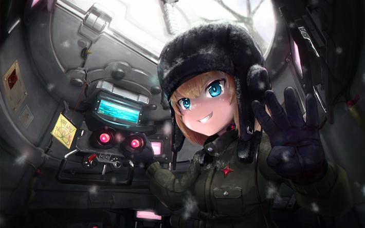 Lataa kuva Tytöt ja Panzer, Manga, Mako Reizei, säiliön sisällä, anime Manga