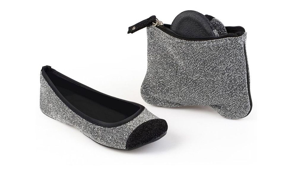Sidekicks Energy Silver, Foldable Ballet Flats with Pouch