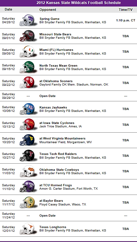 Kansas State Wildcats 2012 Football Schedule - Let's go Cats!!