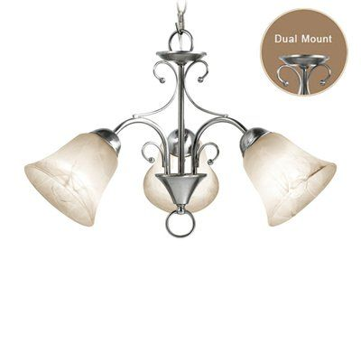 Ridgemont 3 Light Satin Nickel ChandelierDual mount