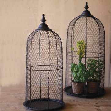 Wire Bird Cage Domes (Set of 2) - eclectic - accessories and decor