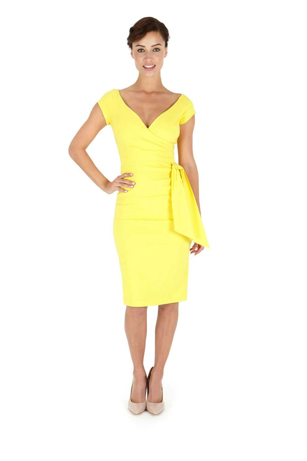 Yellow pencil cocktail dresses