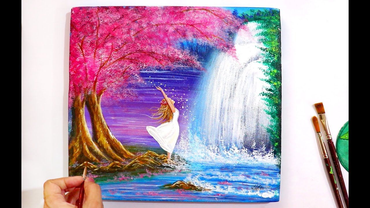 A Girl Near A Waterfall Painting Step By Step Tutorial For