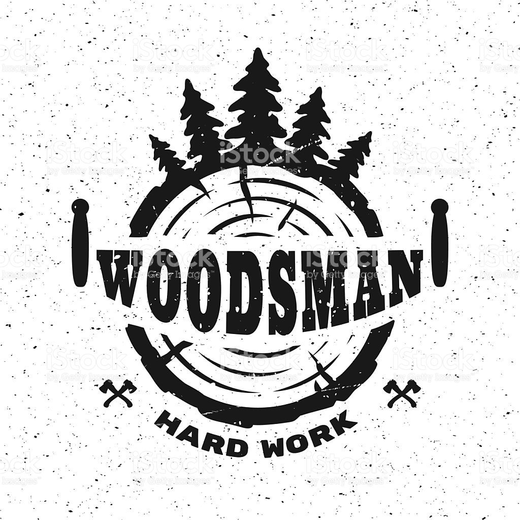lumberjack hard work. Emblem tshirt design. Vector