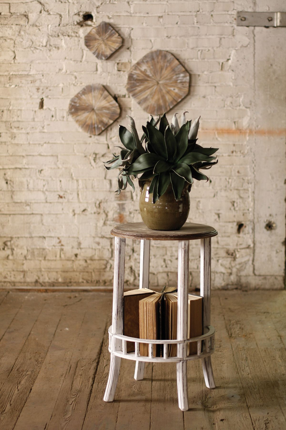 Round Whitewashed Side Table With Distressed Wooden Top Indoor Plant