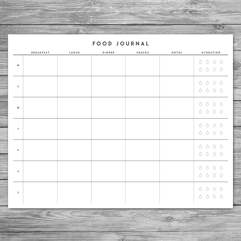 Printable Minimalist Food Journal Weekly Food Journal