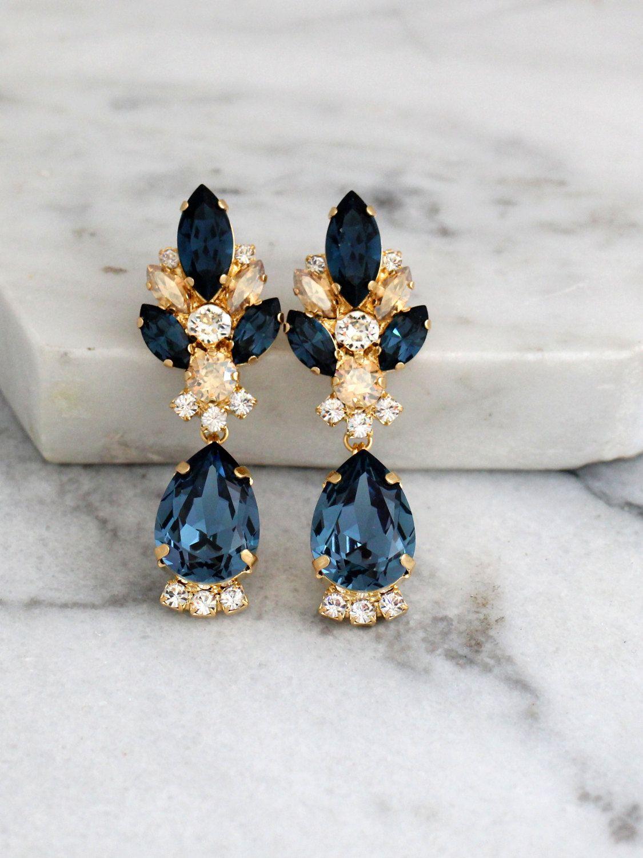 Blue Navy Earrings Dark Bridal Chandelier Champagne Swarovski Drop Add A