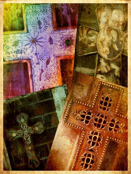 The Way of the Cross. This is a montage of my original iPhotos of several crosses hanging in my home. All editing, arranging, and framing was done using iPhone/iPad apps only.