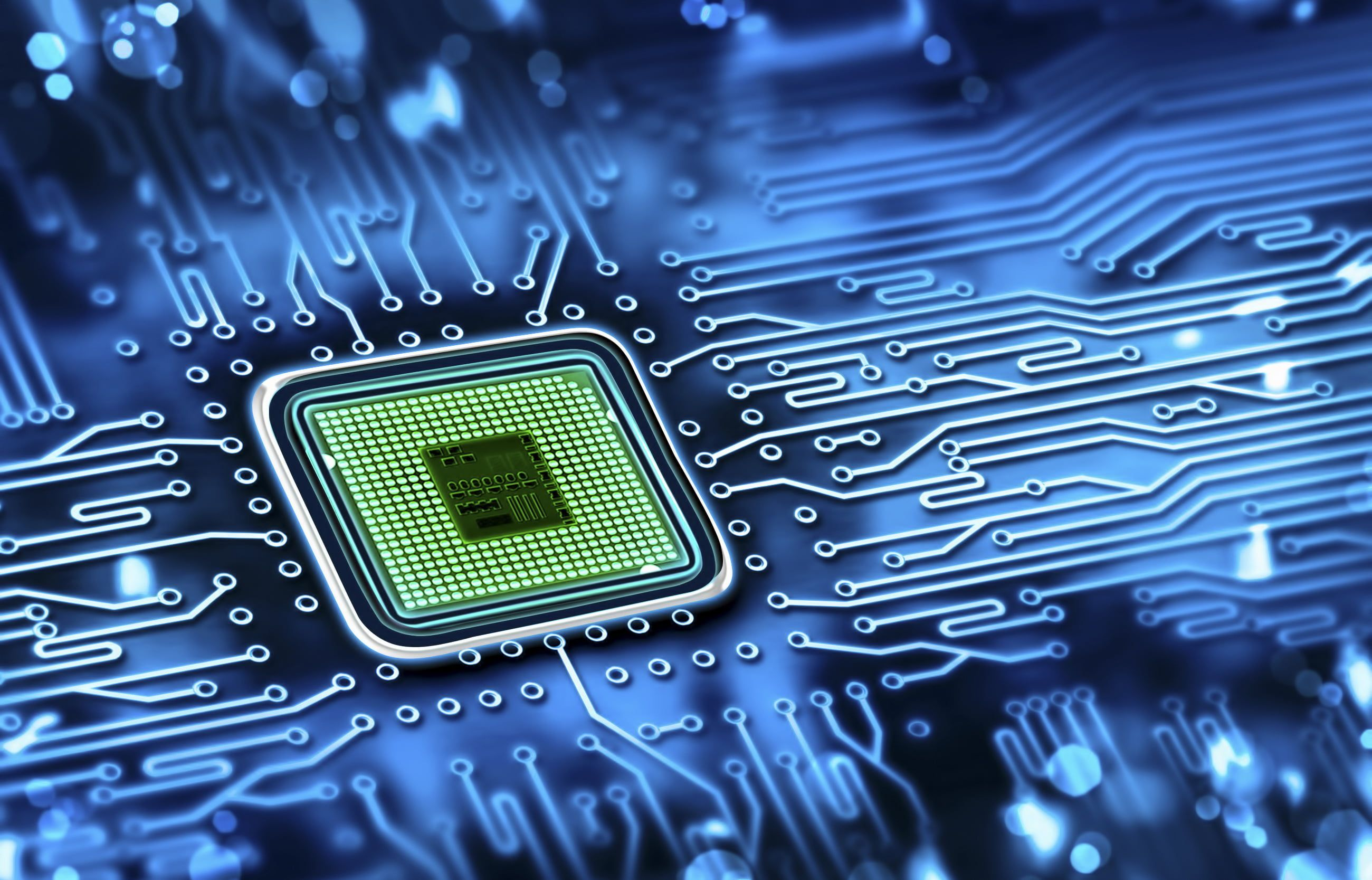 Green Computer Processor Blue Chip Color Fee Track Processor Hi Tech Wallpaper Technology In 2020 Printed Circuit Boards Futuristic Technology Computer Chip