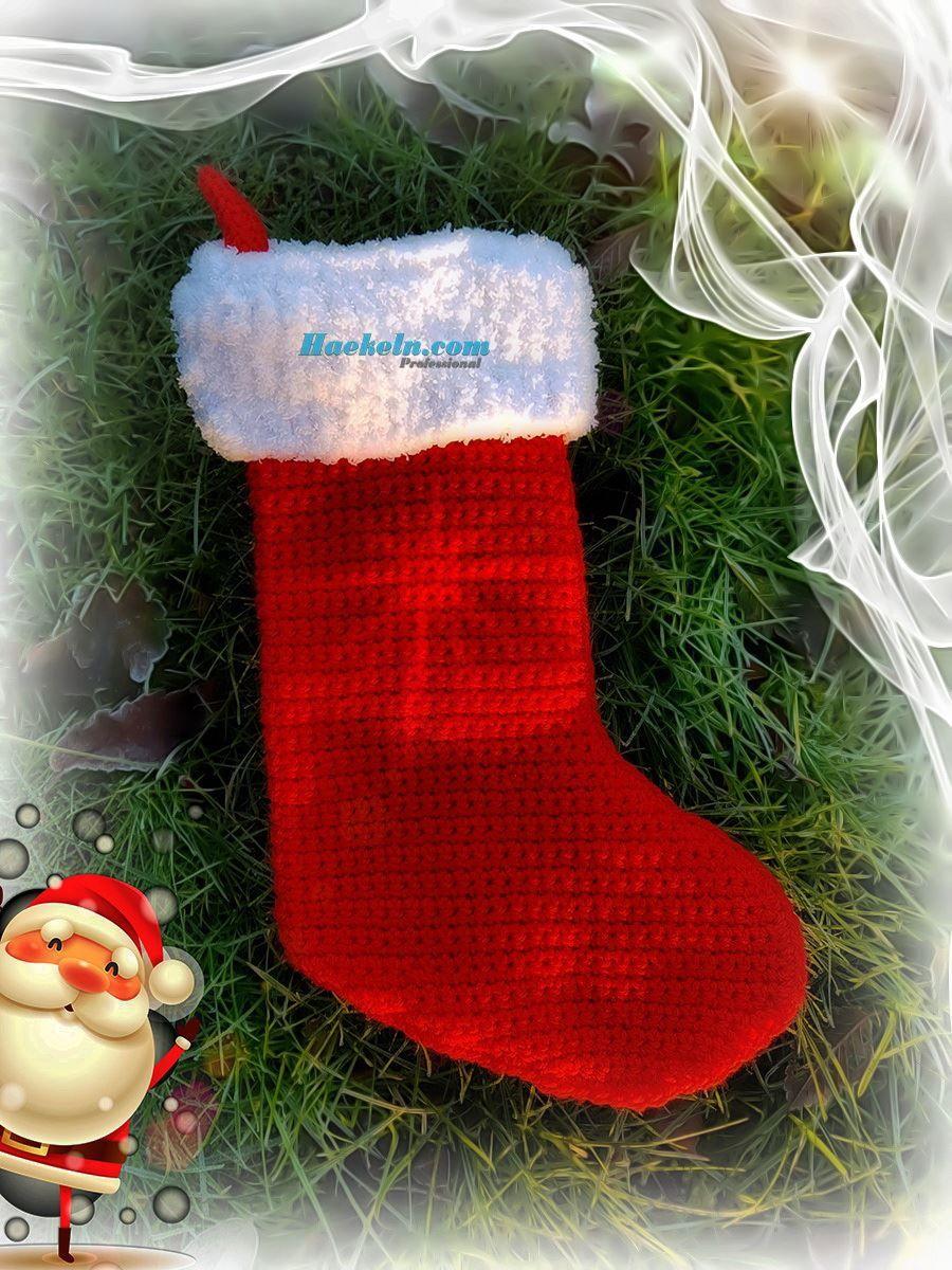 Nikolausstiefel häkeln . Häkelanleitung Weihnachten. Einfache ...