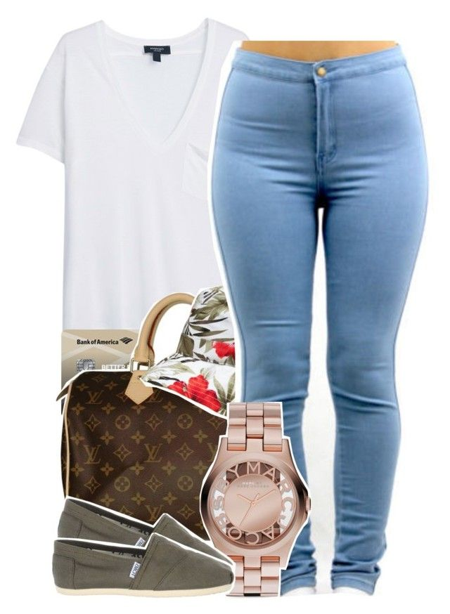 """hi i miss you guys"" by babygirlslayy ❤ liked on Polyvore featuring MANGO, Louis Vuitton, Marc by Marc Jacobs and TOMS"