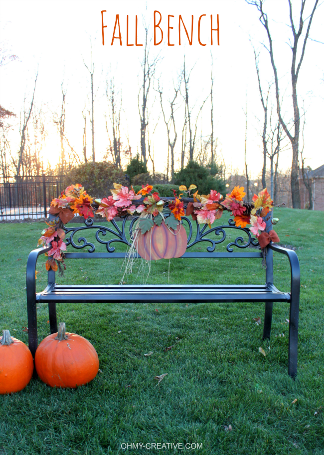 Easy to decorate fall outdoor bench metal pumpkins Fall outdoor decorating with pumpkins