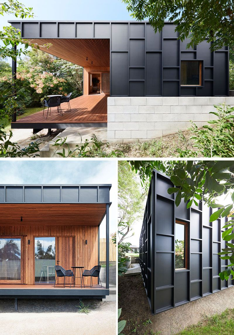 Exterior House Designs Exterior Modern With Concrete Patio Flat Roof: This Modern House Was Clad In Black Fibre Cement Panels With Matching Black