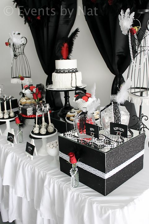 Roaring 1920 S Black White And Red Dessert Table Birthday Party Table Decorations White Birthday Cakes Birthday Themes For Adults