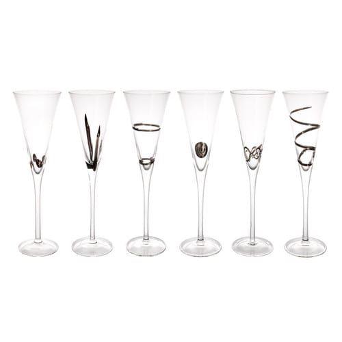 Coffret 6 flûtes en verre argentées | Verre argenté, Verre a