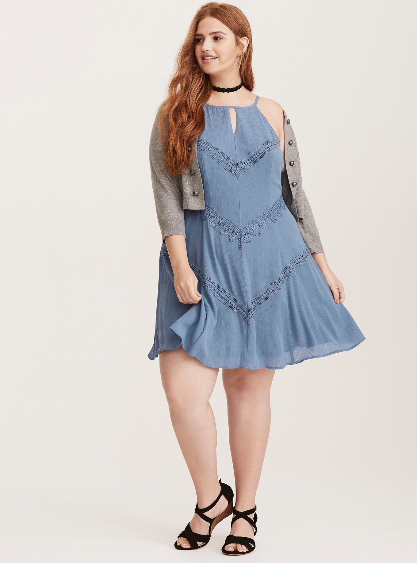 Cornflower Blue Crochet Trim Gauze Trapeze Dress | Torrid | PLUS ...