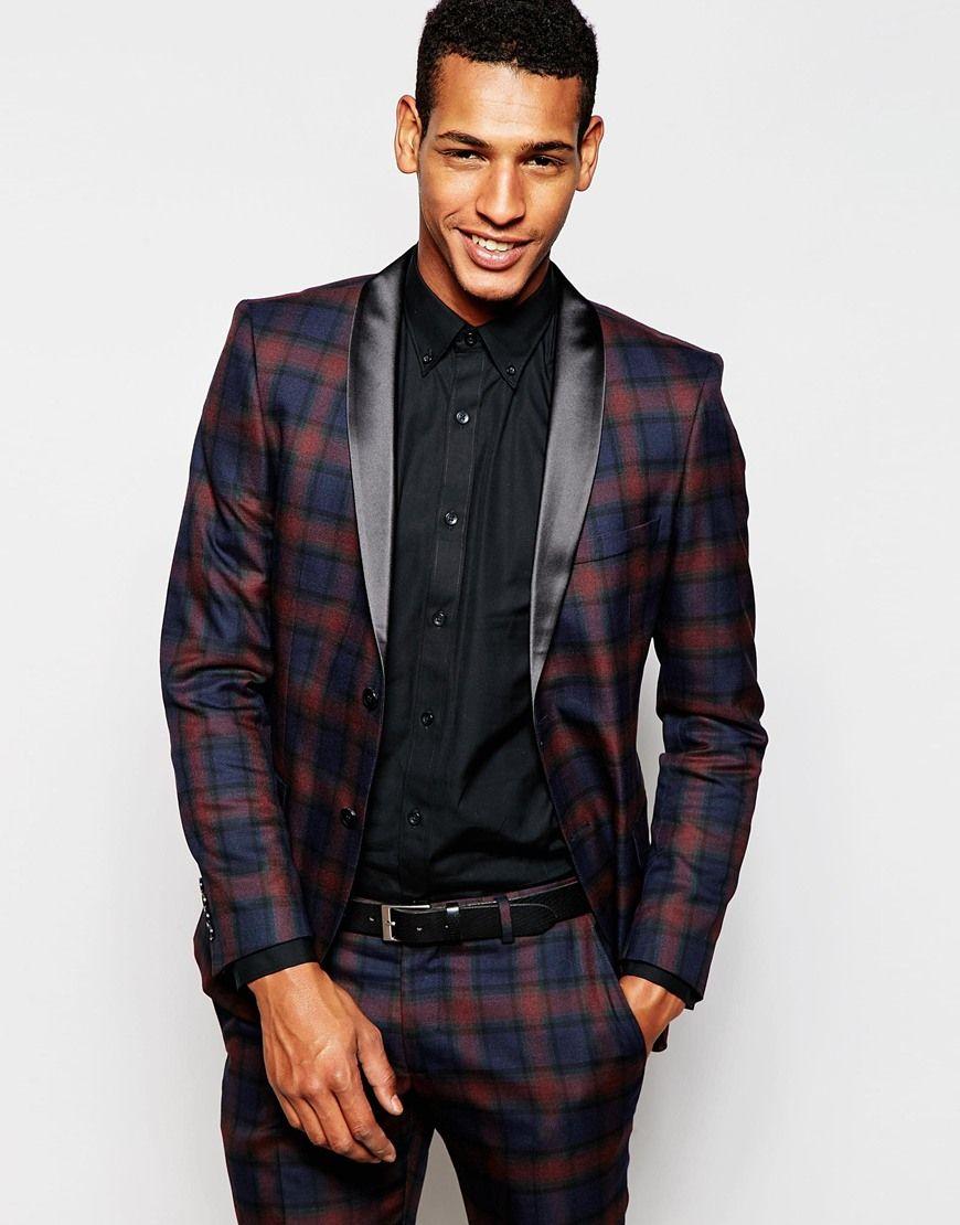 9708dbebf Men s Blue Tonal Tartan Tuxedo Jacket In Skinny Fit