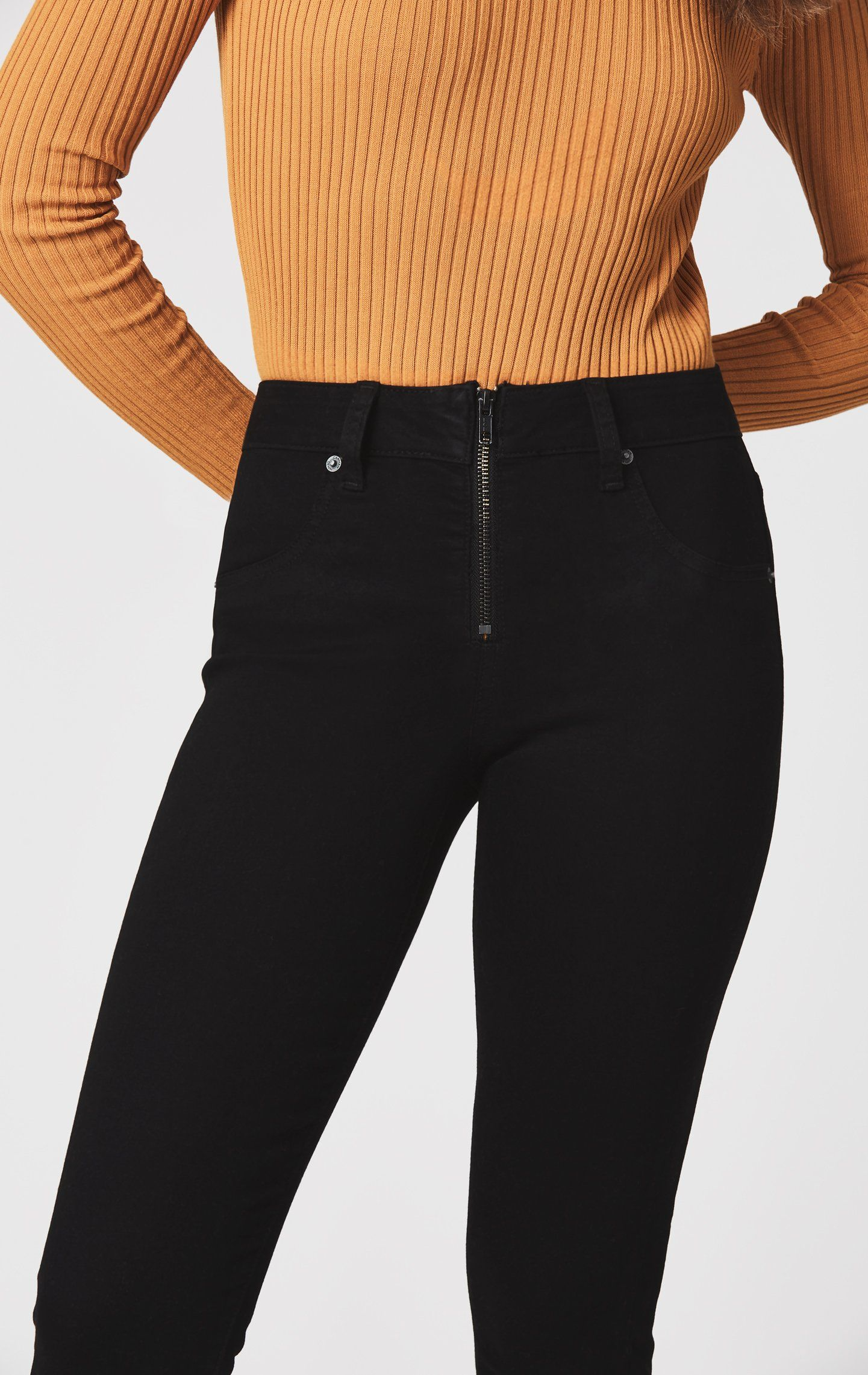 Jupiter high rise skinny jean with half front zip mode