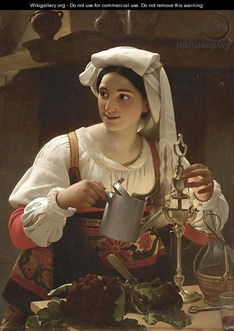 Jan Baptist Lodewyck Maes A Young Maiden filling an Oil Lamp oil on Canvas.