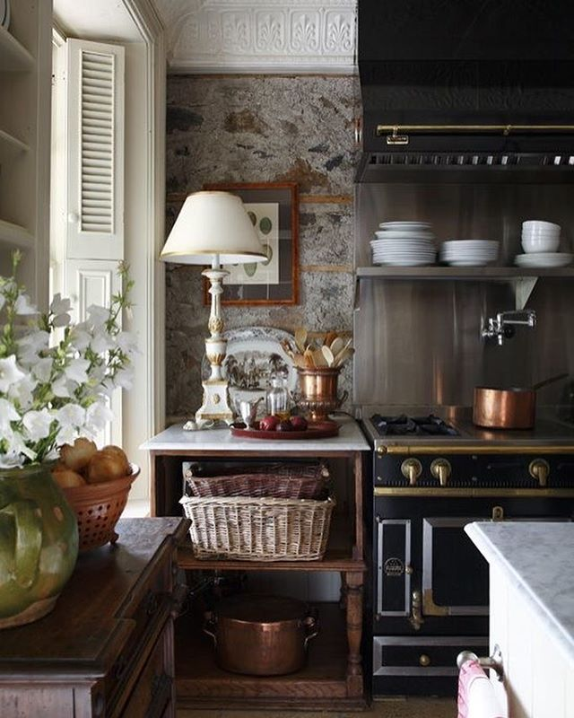 Divine Kitchen. Stone Walls. Lamp. Deep Windows. Gorgeous Black And Gold  Stove