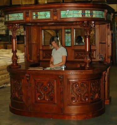 Antique Oak English Covered Home Back Bar Victorian Furniture Shop Counter Old How Cool Is This
