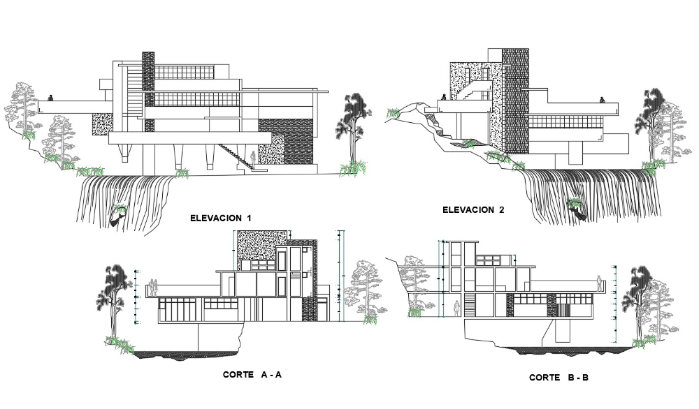 2D CAD Drawing Best Falling In Water House Elevation And Section AutoCAD File