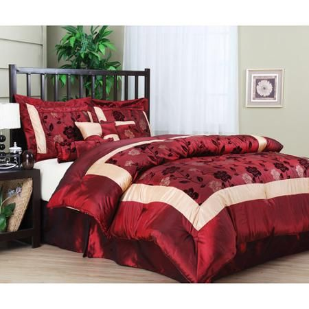 Angela 7-Piece Comforter Set, Burgundy. Goes nicely with cream ...