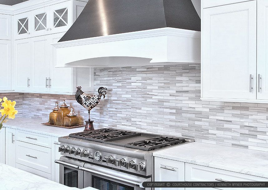 White cabinet marble countertop modern subway kitchen backsplash