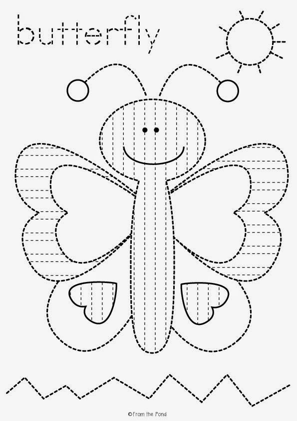 butterfly tracing worksheet freebie preschool printables pinterest vorschule vorschule. Black Bedroom Furniture Sets. Home Design Ideas