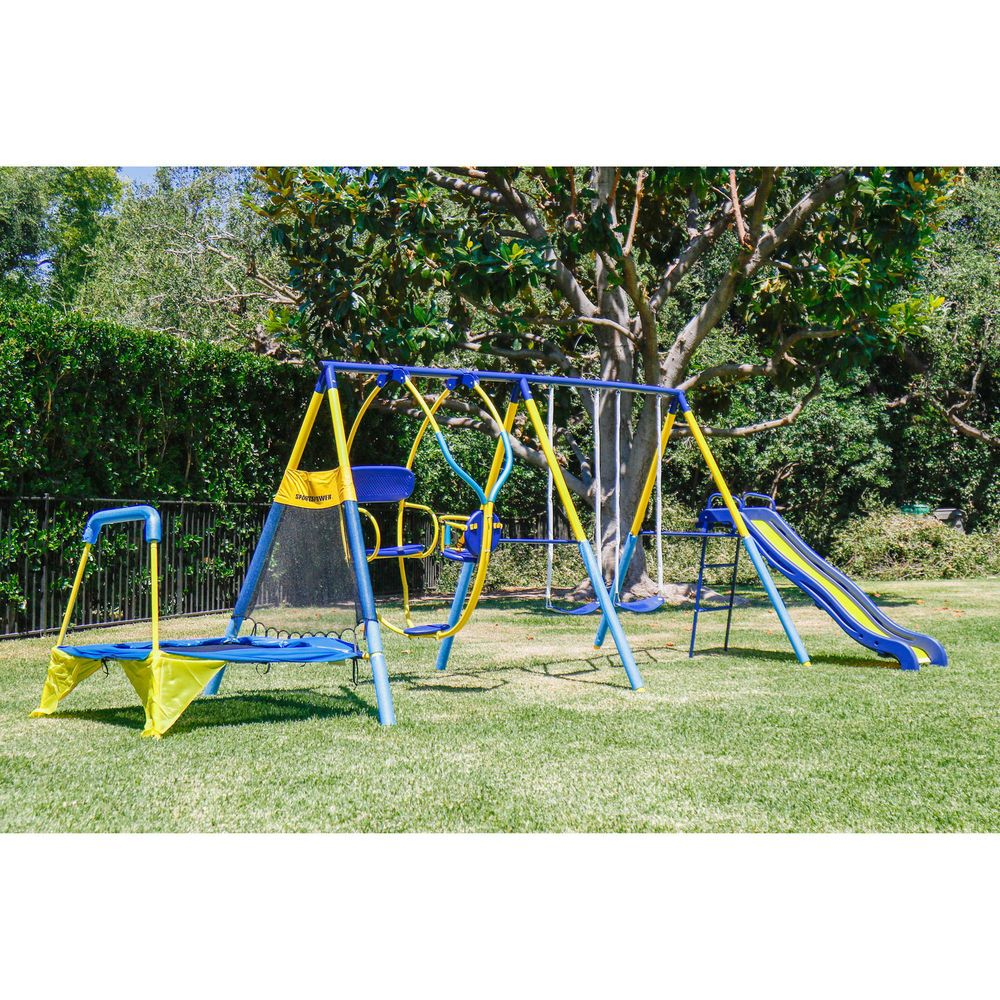 Outdoor Swing Set Steel Kids Children Play Fun Playground Slide Trampoline Games Outdoorswingsetsteelkids Backyard Playset Metal Swing Sets Kids Playground