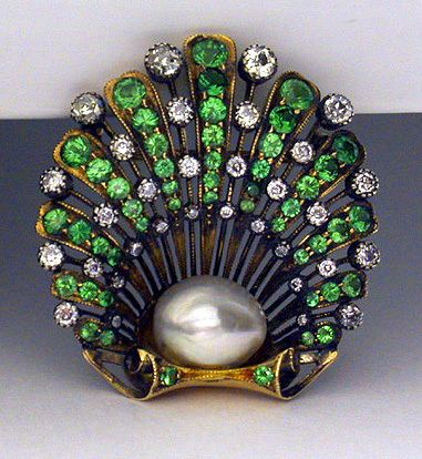 Demantoid Garnet and Diamond Natural Pearl Shell Shaped Brooch ~ Brooch English ca. 1890.