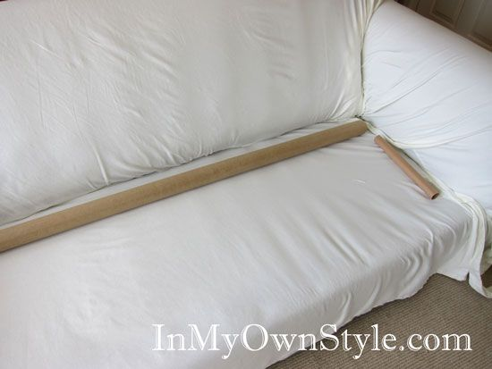 Use Cardboard Tubes With Rubber Bands To Keep Slipcovers From Coming Untucked Diy Couch Cover Diy Sofa Cover Slip Covers Couch