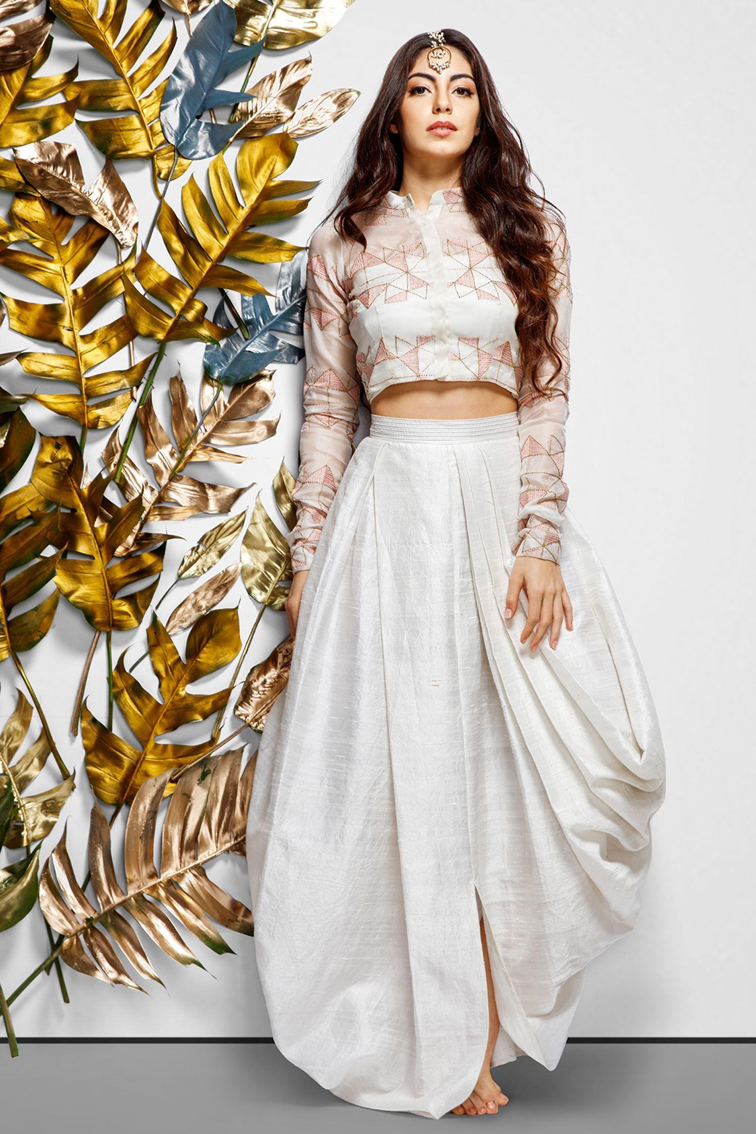 crop top wedding dresses indian