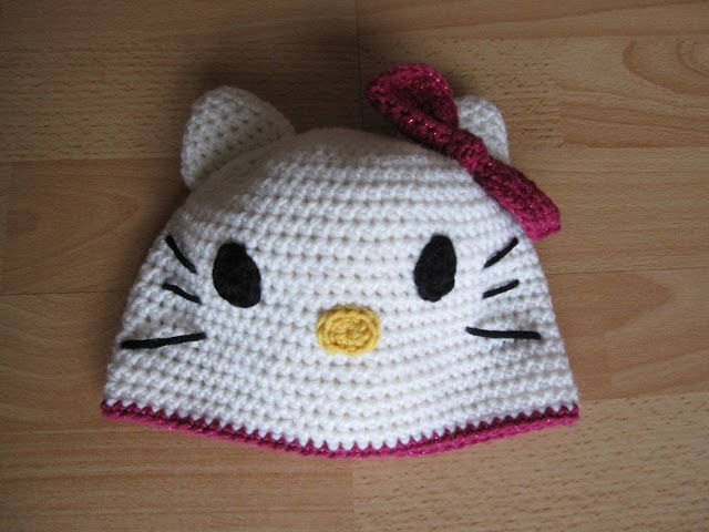 Hello Kitty Mütze häkeln #diy #crochet #hellokitty #hat | tricotaje ...