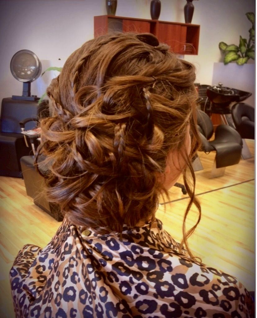 Low pinned curls with loose braids combined wedding pinterest