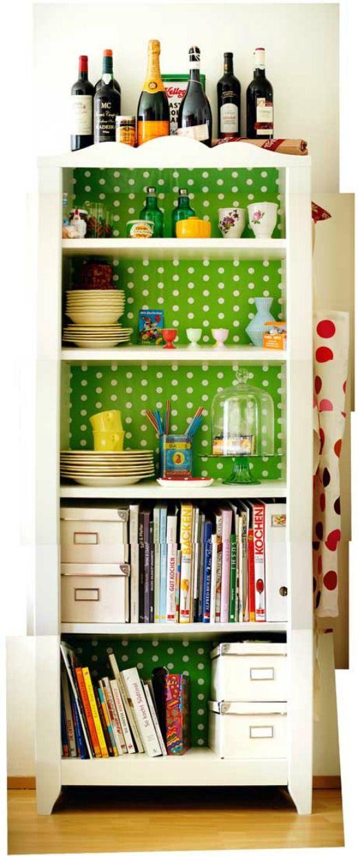 wall papered shelf