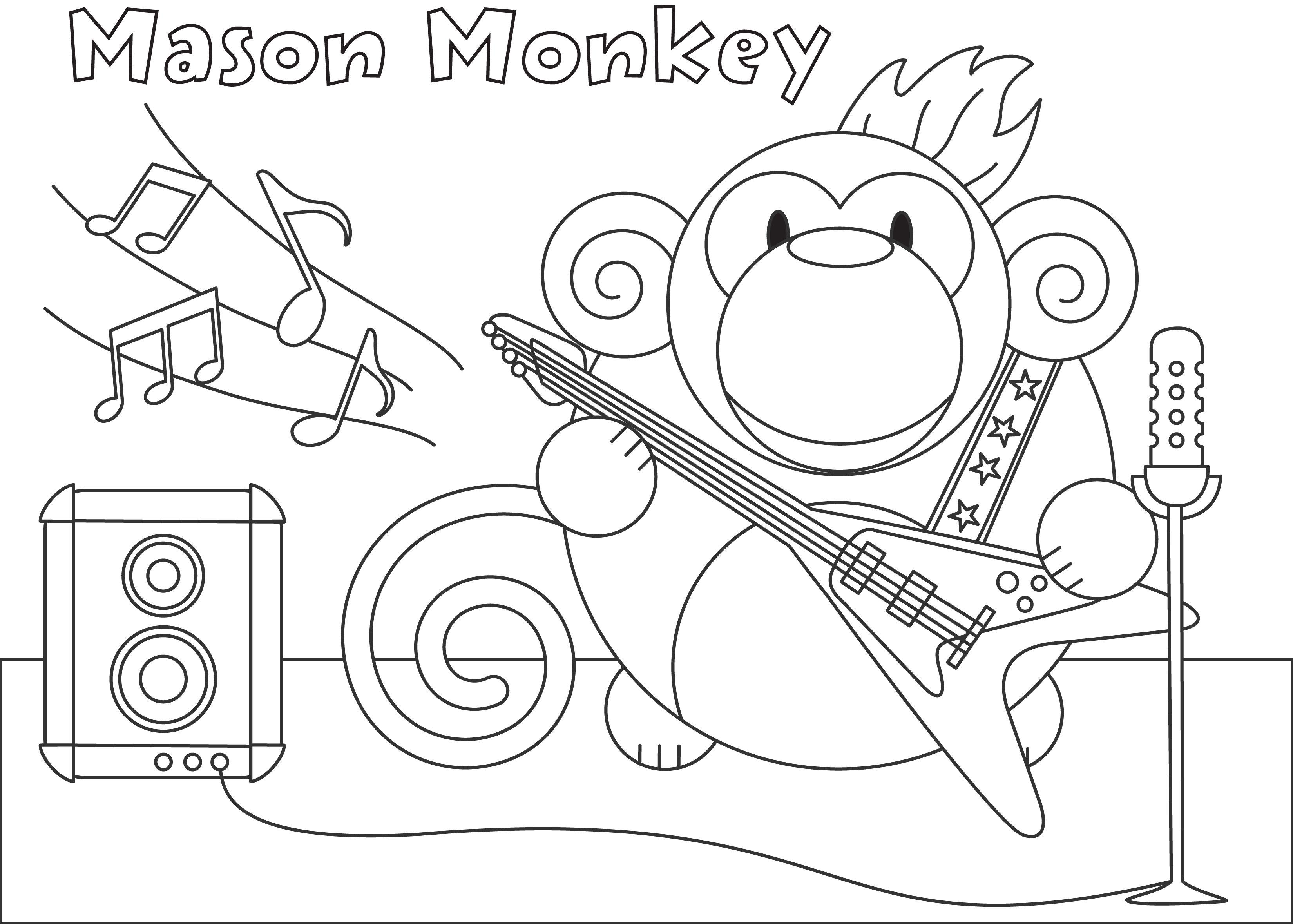 Mason Monkey #bumpidoodle Coloring Page