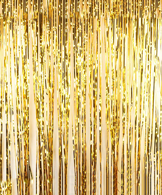 gold foil fringe party door curtain