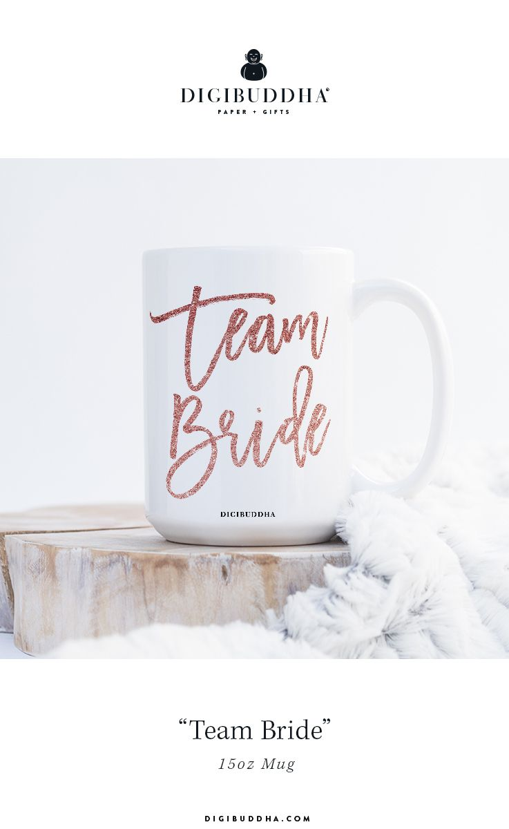 Team Bride bridesmaid quote mug in pink glitter brush script ...