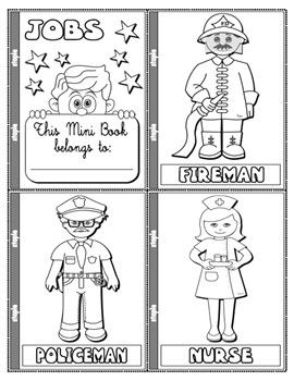 Jobs And Occupations Colouring Mini Book 19 Pages Mini Books Community Helpers Preschool Vocabulary Games