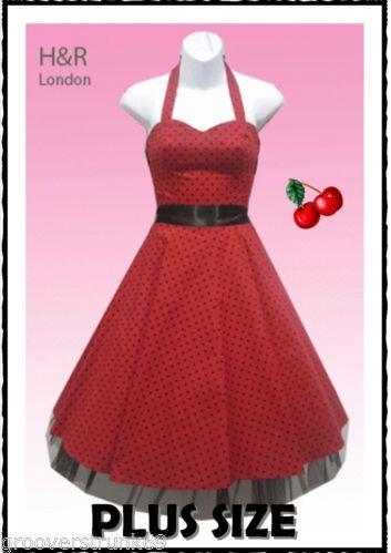 7d407edab9298 H R London Red or Black Small Dot Dress Plus Size Rockabilly Vintage Pinup  | eBay