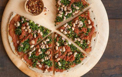 Good Luck Whole Grain Pizza with Kale Pesto
