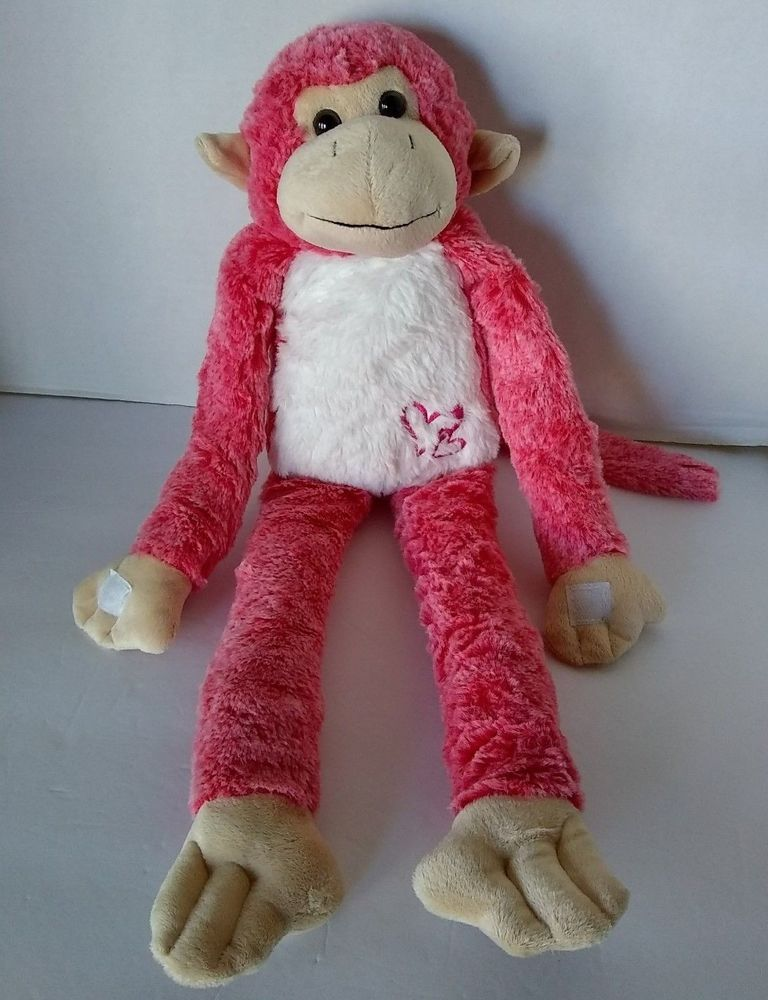 Reddish Pink Plush Monkey Hanging Sticky Hands Dandee 20 Hearts