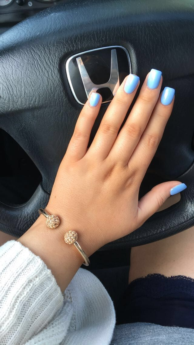 Short Blue Square Acrylic Nails IG Shelbyharms AcrylicNails