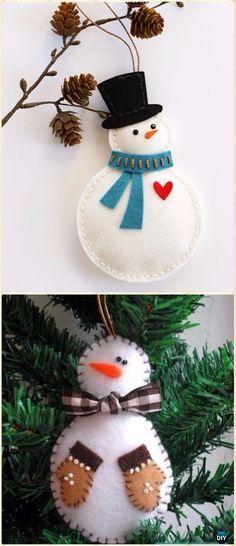DIY Felt Christmas Ornament Craft Projects Instructions #feltchristmasornaments