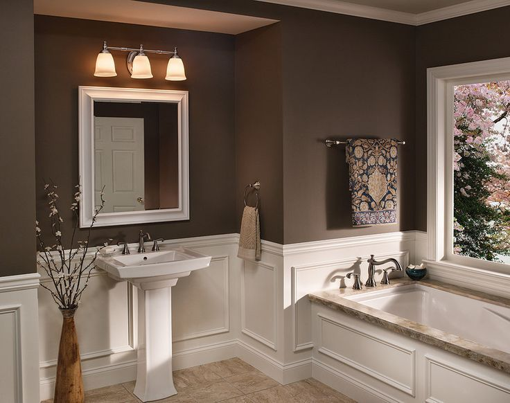 Modren Bathroom Decorating Ideas With Tan Walls Wainscot Design. Bathroom Designs Brown Walls   Interior Design