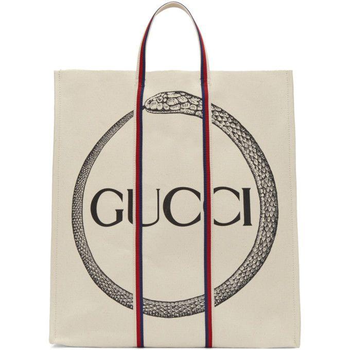 339d78d21fd2 GUCCI Off-White Ouroboros Logo Tote. #gucci #bags #leather #hand bags # canvas #tote #cotton #