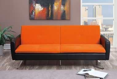 orange and black sofa bed full size mattress sheets adjustable microfibler futon faux leather
