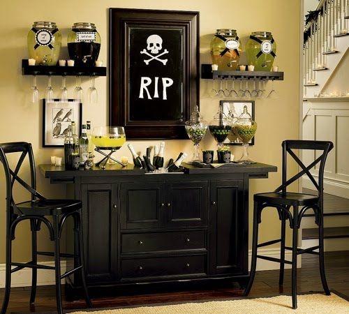 Living room Halloween decoration @Amy Christensen All Hallows Eve - halloween decorations indoor ideas